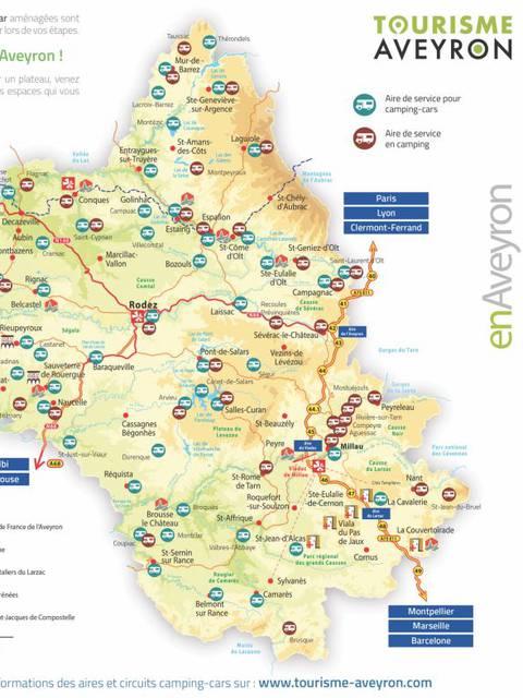 Aires de stationnement en Aveyron