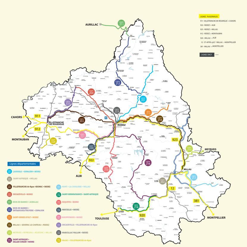 Carte lignes de Bus régulières Aveyron